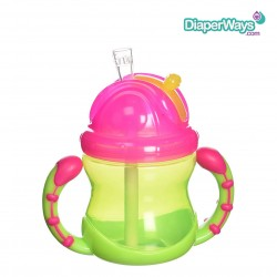 NUBY FLIP N' SIP CUP WITH STRAW  12+ MONTHS  240ML (PINK AND GREEN)