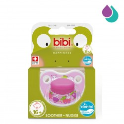 BIBI HAPPINESS SOOTHER 16+ MONTHS WITH DENTAL SILICONE TEAT (PINK HIPPOS)