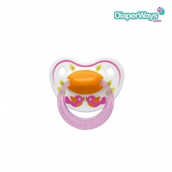 BIBI HAPPINESS SOOTHER 0-6 MONTHS WITH DENTAL SILICONE TEAT (PINK BIRD)