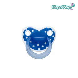 BIBI HAPPINESS SOOTHER 0-6 MONTHS WITH DENTAL SILICONE TEAT (BLUE STARS)