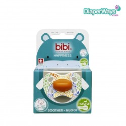 BIBI HAPPINESS SOOTHER 6-16 MONTHS WITH NATURAL SILICONE TEAT (COLORFUL JUNGLE)