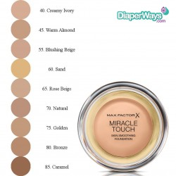 MAX FACTOR MIRACLE TOUCH SKIN SMOOTHING FOUNDATION (WARM ALMOND 45)