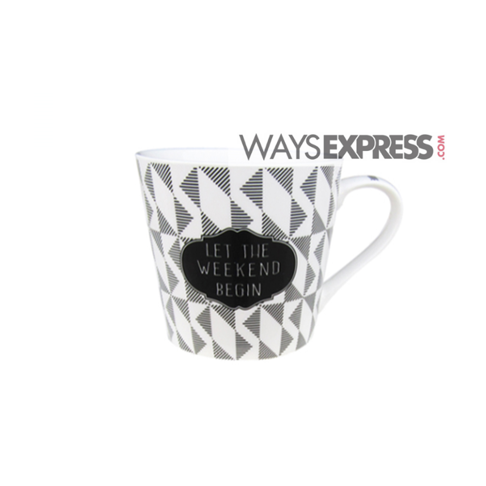 coffee mug white black design
