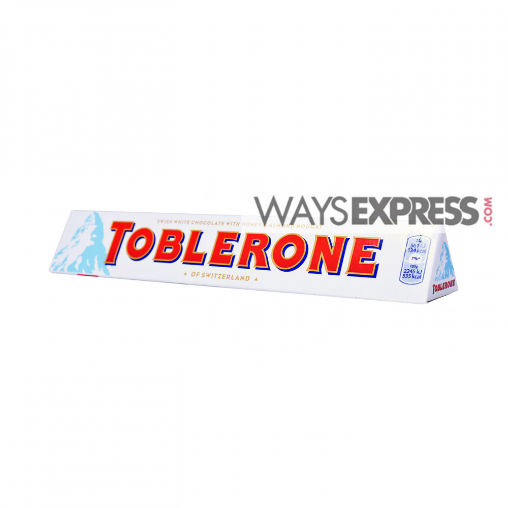 Toblerone Swiss White Chocolate With Honey Almond Nougat 100g