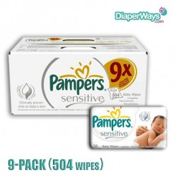 PAMPERS SENSITIVE BABY WIPES 9X56PCS (504 WIPES)